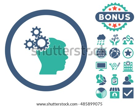 Business Idea icon with bonus symbols. Vector illustration style is flat iconic bicolor symbols, cobalt and cyan colors, white background.