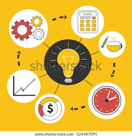 Business idea infographics template. Creative background with clock, lamp, calculator, statistics  - stock vector