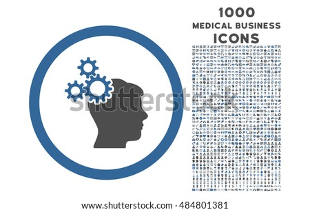 Business Idea rounded vector bicolor icon with 1000 medical business icons. Set style is flat pictograms, cobalt and gray colors, white background.