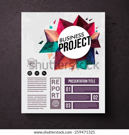 Business Identity Web Template with Creative Graphic Designs on a Dark Brown Background. Vector illustration. - stock vector