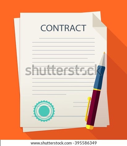 Business illustration contract with pen. - stock vector