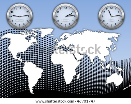 Business illustration with world map and three clock's on abstract halftone background - stock vector