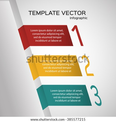 Business info graphic design template, numbered banners - stock vector