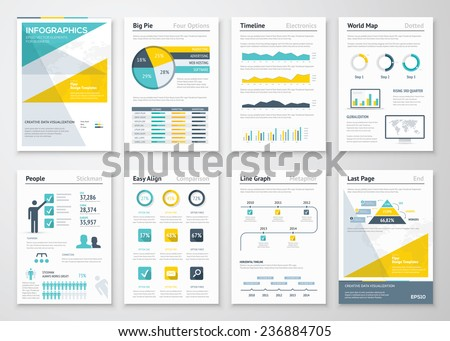 Business info graphics vector elements for corporate brochures. Collection of modern infographic metaphors in a flyer and brochure concept, use for marketing, website, print, presentation etc - stock vector