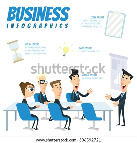 Business infographic - Business people in a meeting at office - stock vector