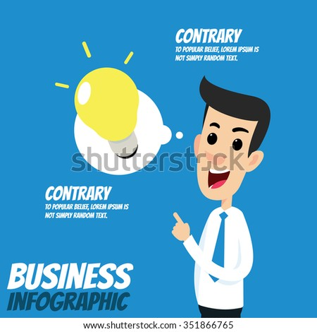 Business infographic - Businessman with lightbulb idea - stock vector