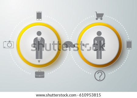 Business infographic design concept with circles people needs icons on gray background isolated vector illustration
