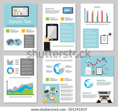 Business infographic elements. Business background. Brochure templates. Set of flyer design template. - stock vector