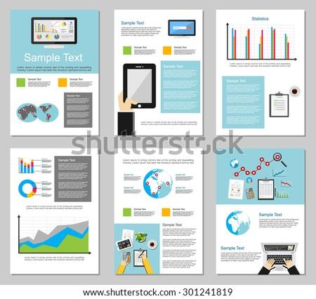 Classic Brochure Template Design Blue Shapes Stock Vector ...