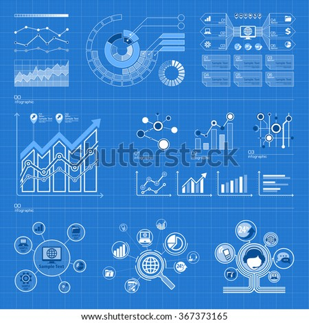 Business infographic elements set on blue, vector illustration - stock vector