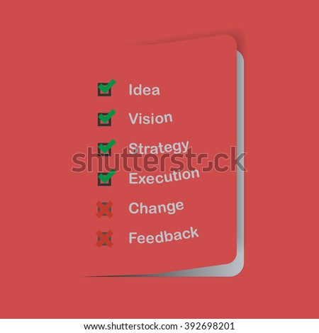 Business infographic, infographics, business sheet with check box. Check box with business terms. Business strategy process. Check box on red sheet.  - stock vector