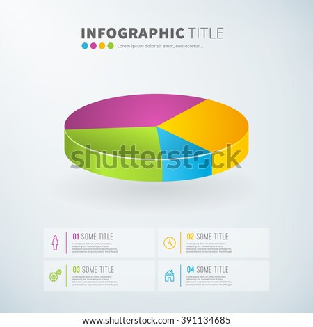 Business infographic pie chart statistics with icons for reports and presentations. Vector illustration.