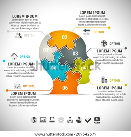 Business infographic with human head made of puzzle. - stock vector