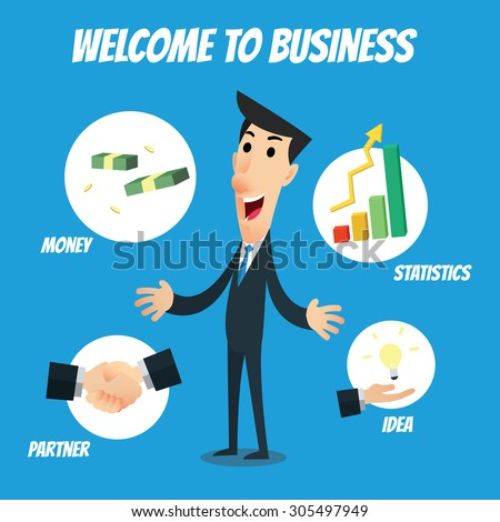 "Business infographic with text ""Welcome to Business"" - Businessman with icons of handshake, money, bar graph, lightbulb idea - stock vector"