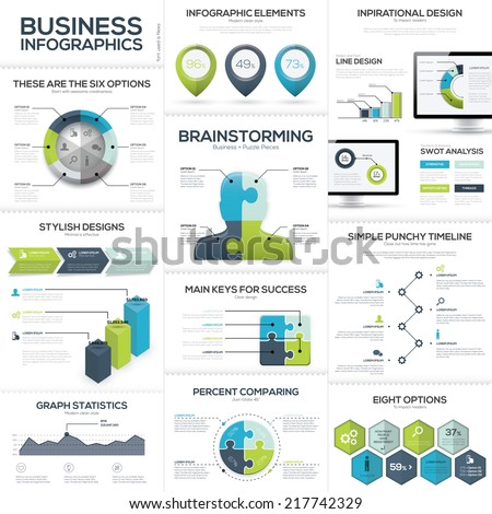 Business infographics and data visualization vector elements - stock vector