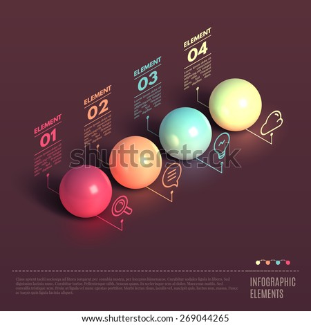 Business Infographics ball concept. 3d isometric vector illustration. Can be used for web design and workflow layout - stock vector
