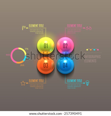 Business Infographics ball concept. 3d vector illustration. Can be used for web design and workflow layout - stock vector