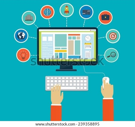 Business infographics by using modern of digital devices or web apps, reporting, statistic data with icons - stock vector