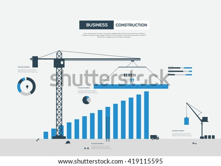 Business Infographics Construction. Vector Illustration - stock vector
