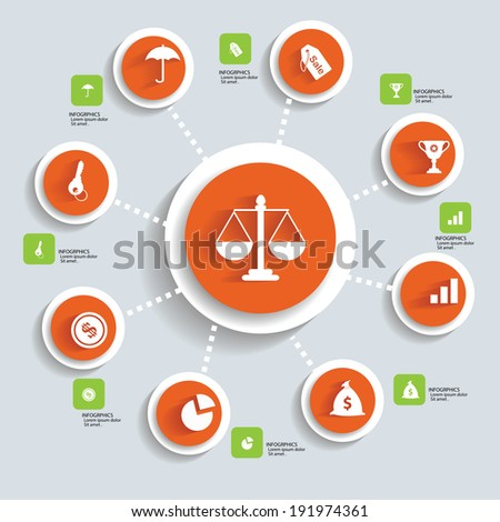 Business Infographics design,red version,vector - stock vector