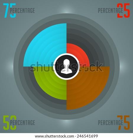 Business Infographics Design Template. Vector Elements. Color Source Pie Chart Diagram Illustration. EPS10 - stock vector