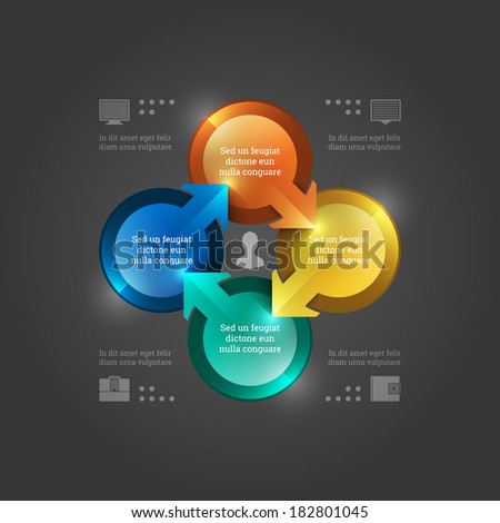 Business Infographics Design Template. Vector Elements. 3D Circle Chart Illustration. EPS10