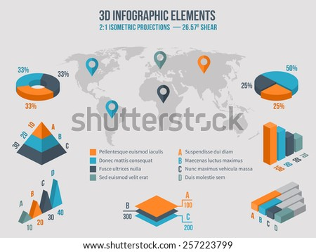 Business infographics elements. 3d charts and graphic and diagram on world Map. Vector illustration - stock vector
