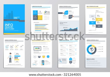Business infographics elements for corporate brochures. Collection of modern infographic elements in a flyer and brochure concept. Flat design. Vector - stock vector