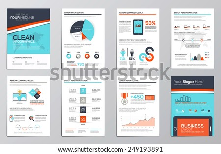 Business infographics elements for corporate brochures. Flat and clean design. Vector - stock vector