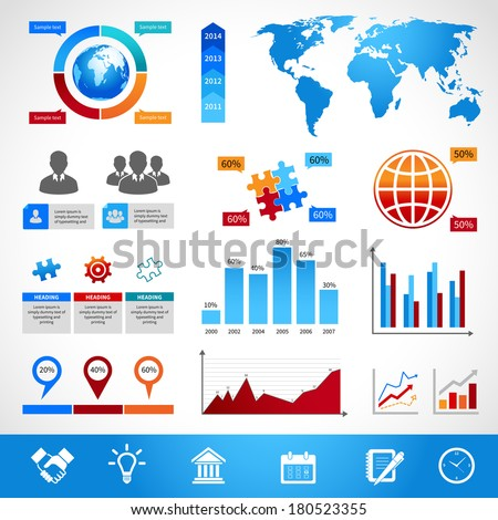 Business infographics layout design elements for charts and graphs vector illustration - stock vector