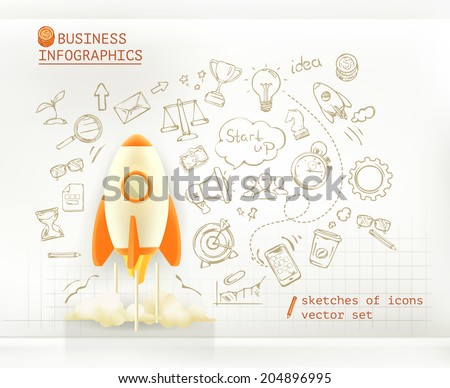 Business infographics, start up vector set - stock vector