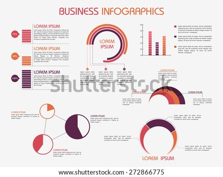 Business infographics template decorated with different graphs for data presentation. - stock vector