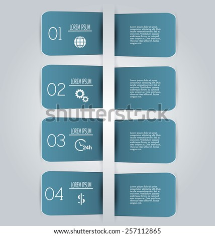 Business infographics template for presentation, education, web design, banners, brochures, flyers. Dark blue tabs. Vector illustration. - stock vector