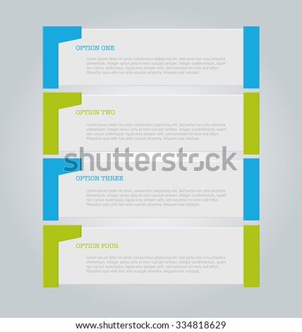 Business infographics template for presentation, education, web design, banners, brochures, flyers. Blue and green tabs. Vector illustration