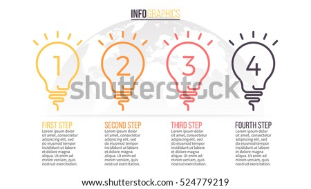 Business infographics. Timeline with 4 lightbulbs, ideas, steps. Vector linear infographic element.