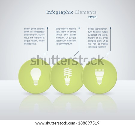 Business infographics vector illustration with light bulb icon set for workflow layout, web site design, diagram, number options - green, white version - stock vector