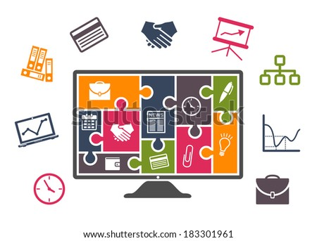 Business infographics with colorful icons of computer, chart, card, handshake, clock, briefcase, files and computer or tv monitor with puzzles - stock vector
