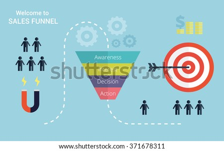 Business infographics with stages of a Sales Funnel,  audience, clients, target and profit. Flat vector illustration. - stock vector