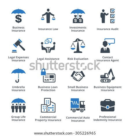 Business Insurance Icons - Blue Series - stock vector