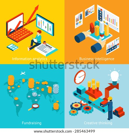 Business intelligence and information analytics, fundraising and creative thinking. Report chart graph web infographic data statistic finance, vector illustration - stock vector
