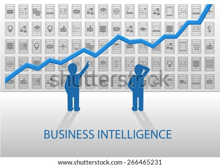 Business Intelligence vector illustration. Business people analyzing positive chart with various data items (OLAP, ETL, structured data, unstructured data) in the background. - stock vector