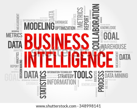 Business intelligence word cloud, business concept - stock vector