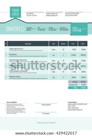 Business Invoice Template Vector Illustration Invoice Stock Vector ...