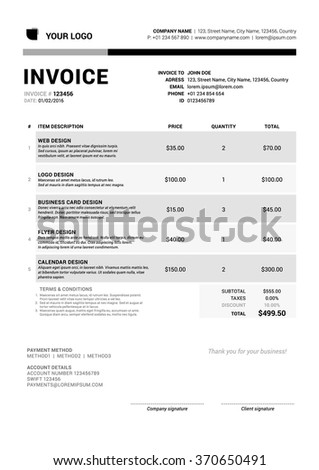 Business Invoice Template. Vector Illustration. Stationery Design - stock vector