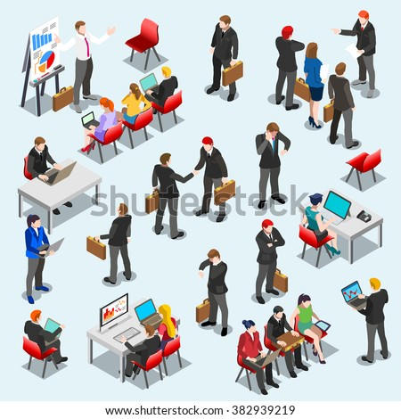 Business Isometric Person Meeting Infographic Sitting and Standing Isolated Businessman. 3D Flat Art Isometric People Set Business Leader Collection. Desk Man Big Data Analysis  EPS JPG Vector Image. - stock vector