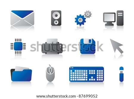 Business IT entrepreneur computer office award winner logo icons in blue style - stock vector