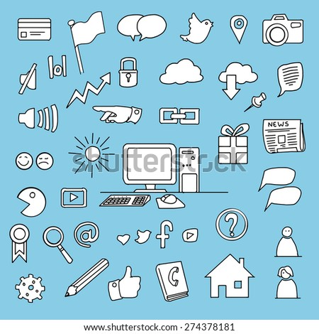 business item set, hand drawn doodles, vector illustration - stock vector