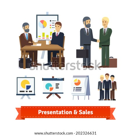 Business job interview, brainstorming, sale closing, handshake and various charts. Flat icon set. EPS 10 vector.  - stock vector