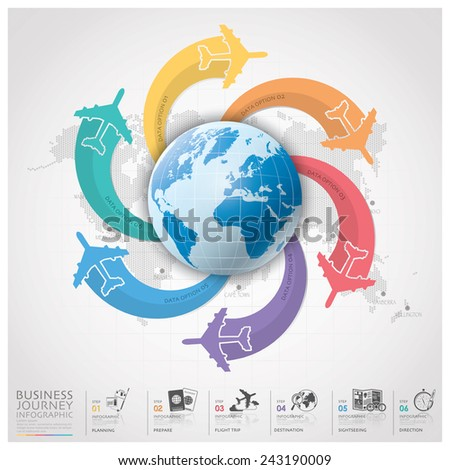 Business Journey With Global Airline Infographic Diagram Design Template - stock vector