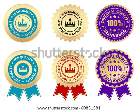 business labels - quality - stock vector